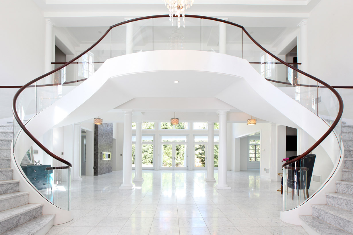 A large marble staircase representing the work of construction company Lasley Brahaney Architecture + Construction in Princeton, NJ