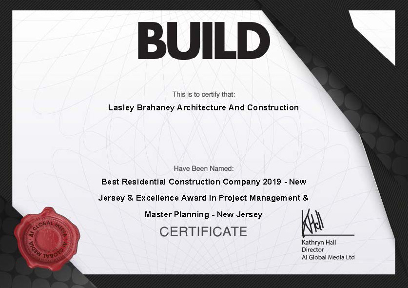 Build Magazine Award for Best Residential Construction Company 2019 in New Jersey and Excellence Award in Project Management & Master Planning in New Jersey.