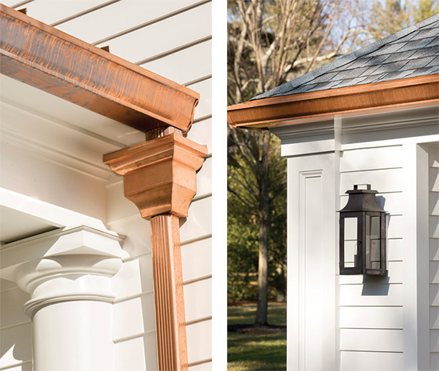 The copper gutter, downspout, & trim detail.