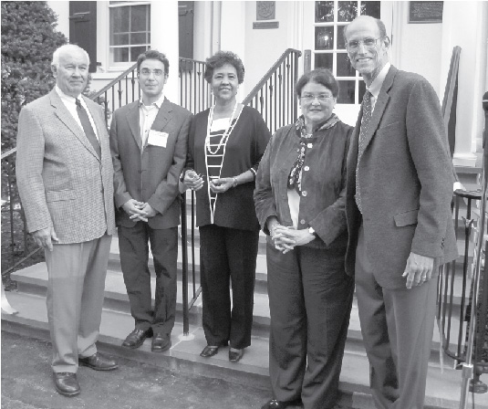 Celebrating the Nassau Club's recent completion of a $600,000 renovation were (from left) Alan Hegedus, Nassau Club Vice President and Chair of the House Restoration Committee; Township Deputy Mayor Chad Goerner; Princeton Borough Mayor Mildred Trotman; Nassau Club President Alison Lahnston; and Marc Brahaney of Lasley Brahaney General Contractors.