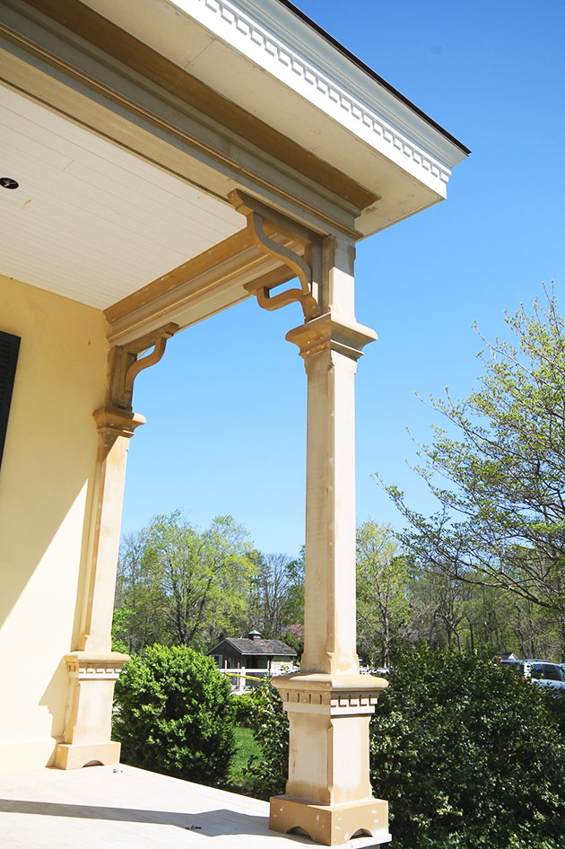 At the fascia, Boral crown molding and dentil trim from Duration covered a raised perimeter curb needed for roof drainage. Elsewhere on the home, new window sills and highly decorative trim for box gutters were also made from milled Boral.