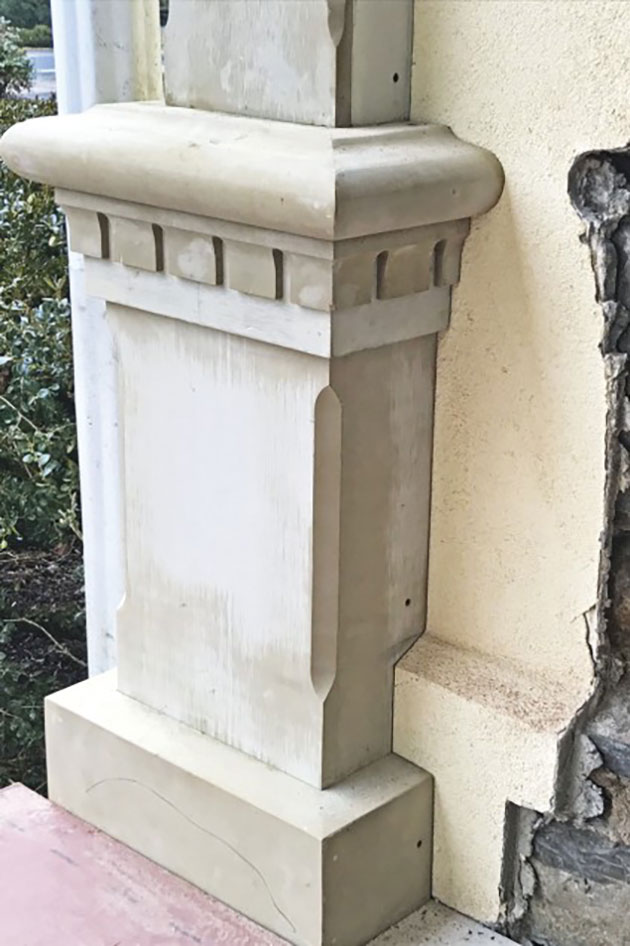 A new factory-milled pilaster was installed a couple of feet beyond the previous pilaster location (due to the widening of the porch).