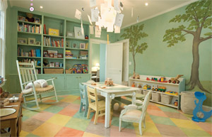 The children's playroom features hand-painted wall murals and a hand-painted border on the hardwood floor (photo by Tom Grimes).