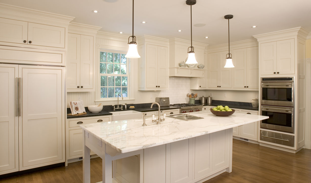 All white kitchen designed by architect firm Lasley Brahaney Architecture + Construction in Princeton, NJ