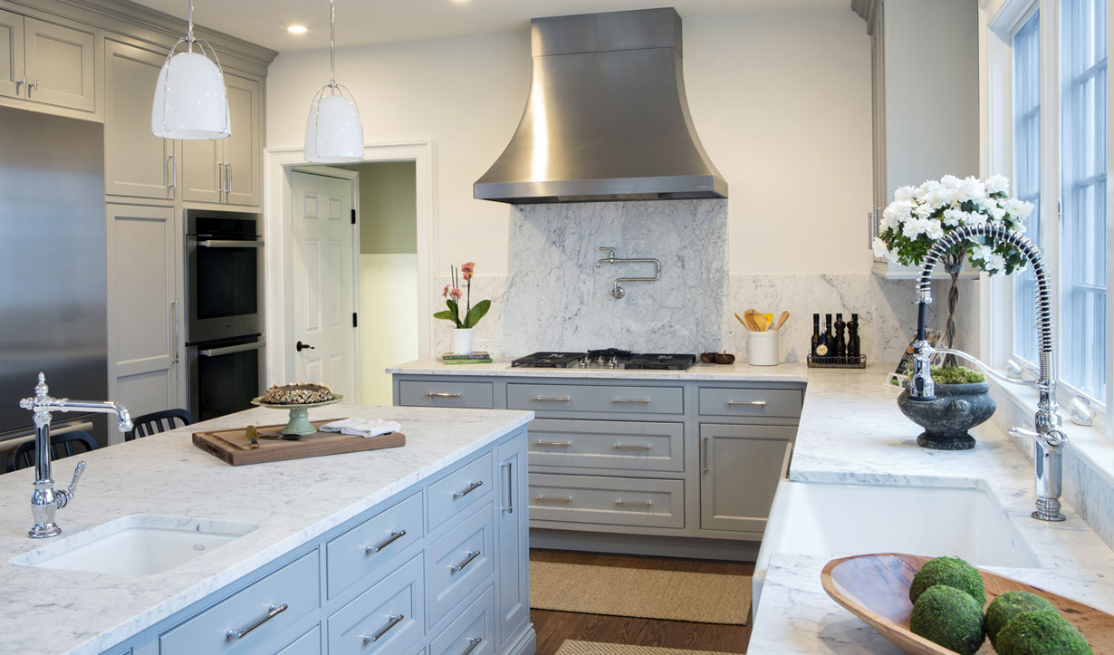 Grey custom cabinets built by building company Lasley Brahaney Architecture + Construction in Princeton, NJ