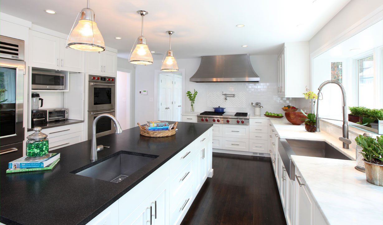 Black and white kitchen by architect firm Lasley Brahaney Architecture + Construction in Princeton, NJ